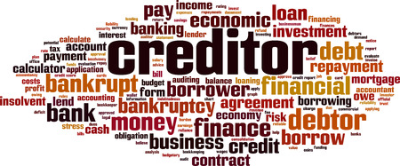 Creditor word cloud concept. Vector illustration
