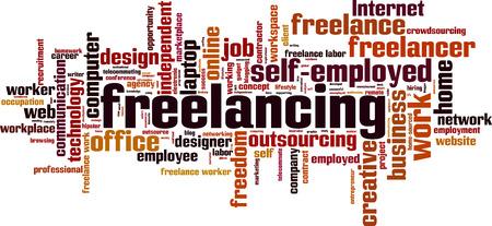 Freelancing word cloud concept. Vector illustration