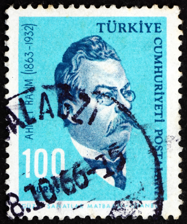 TURKEY - CIRCA 1964: a stamp printed in Turkey shows Ahmet Rasim, Writer, circa 1964