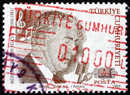 TURKEY - CIRCA 1993: a stamp printed in Turkey shows Munir Nurettin Selcuk (1900 – 1981), was a Turkish classical musician and tenor singer, circa 1993