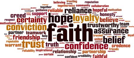 Faith word cloud concept. Vector illustration