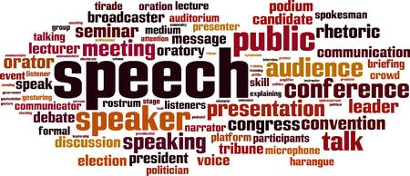 Speech word cloud concept. Vector illustration