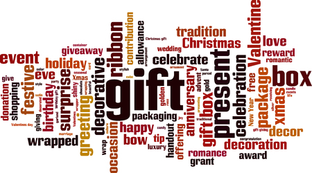 Gift word cloud concept. Vector illustration Illustration