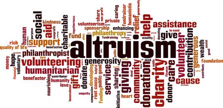 Altruismuswort-Wolkenkonzept. Vektor-illustration Standard-Bild - 89036180