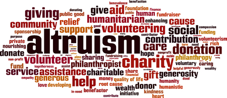 Altruism word cloud concept on white background, vector illustration.