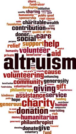 Altruismuswort-Wolkenkonzept auf weißem Hintergrund, Vektorillustration. Standard-Bild - 89036169