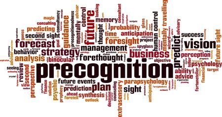 Precognitie word cloud concept. Vector illustratie Stock Illustratie