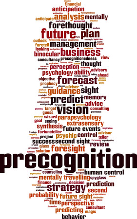 Precognition word cloud concept. Vector illustration Illustration