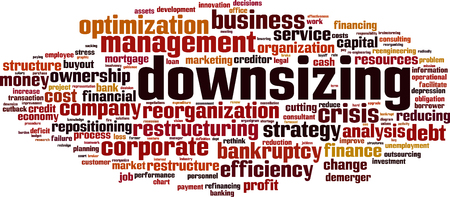 Downsizing word cloud concept. Vector illustration
