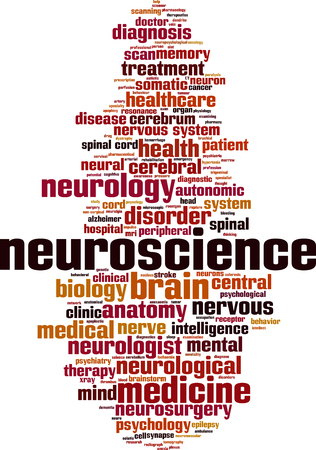 Neuroscience woordwolk concept. Vector illustratie