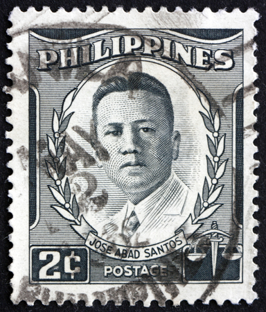 PHILIPPINES - CIRCA 1960: a stamp printed in Philippines shows Jose Abad Santos, portrait, fifth Chief Justice of the Supreme Court of the Philippines, Lawyer, circa 1960