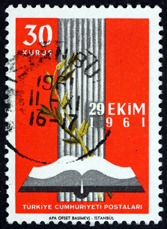 TURKEY - CIRCA 1961: a stamp printed in Turkey shows open book and olive branch, inauguration of the new parliament, circa 1961