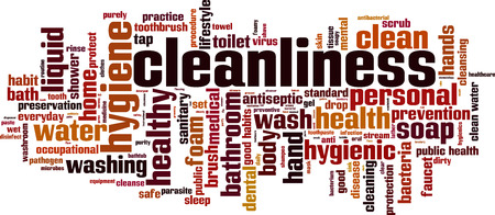 Cleanliness word cloud concept. Vector illustration