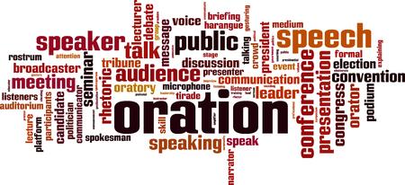 rostrum: Oration word cloud concept. Vector illustration