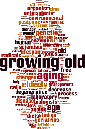 Growing old word cloud concept, vector illustration.