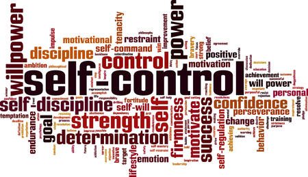 Self-control word cloud concept. Vector illustration