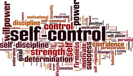 Koncepcja chmura słowa samokontroli. Ilustracji wektorowych