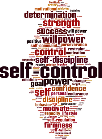 Self-control word cloud concept. Illustration