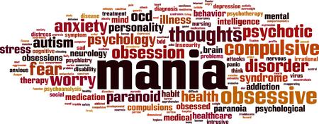 Mania word cloud concept. Vector illustration Illustration
