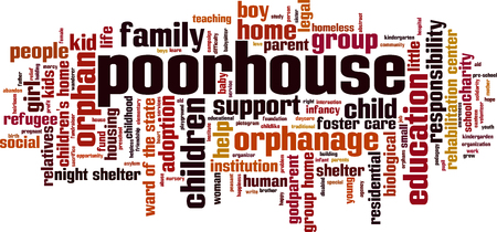 Poor house word cloud concept. Vector illustration