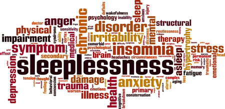 Sleeplessness word cloud concept. Vector illustration