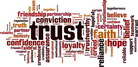 Concepto de nube de word de confianza. Ilustración vectorial Ilustración de vector