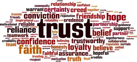 Trust word cloud concept. Vector illustration Иллюстрация