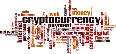 Cryptocurrency word cloud concept. Vector illustration