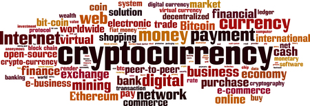 Cryptocurrency word cloud concept. Vector illustration Imagens - 89832936