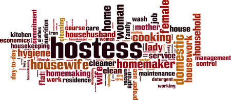 Hostess word cloud concept. Vector illustration Vettoriali