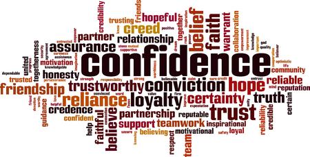Concept de nuage de mot confiance. Illustration vectorielle