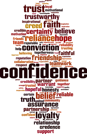 Confidence word cloud concept. Vector illustration