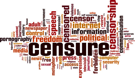Censure word cloud concept. Vector illustration