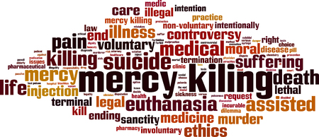 Mercy killing word cloud concept. Vector illustration