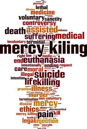Mercy killing word cloud concept. Vector illustration