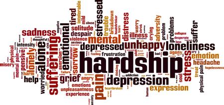 Hardship word cloud concept. Vector illustration