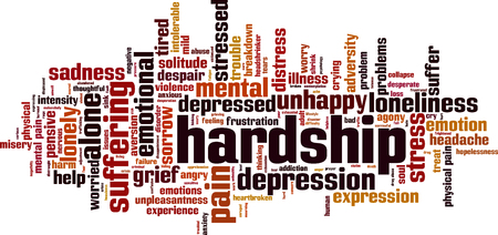 Hardship word cloud concept. Vector illustration