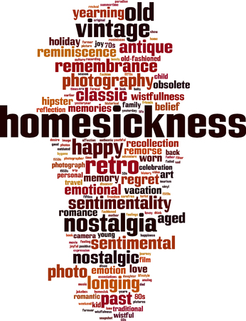 Homesickness word cloud concept. Vector illustration
