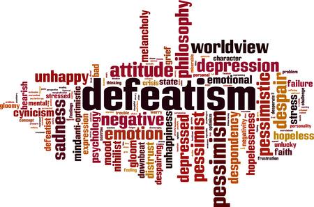 Defaitisme word cloud concept. Vector illustratie