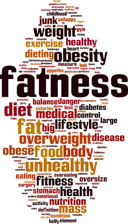 Fatness word cloud concept. Vector illustration