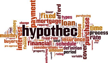 Hypothec word cloud concept. Vector illustration