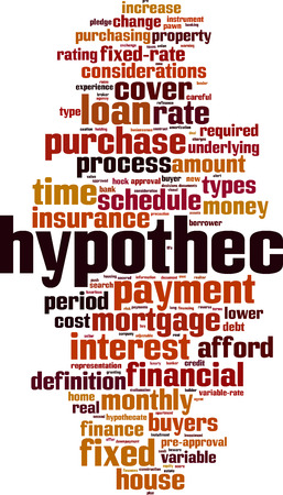 Hypothec word cloud concept. Vector illustration Stok Fotoğraf - 90234005