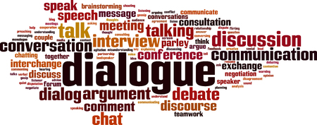 Dialogue word cloud concept. Vector illustration