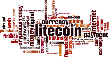 Litecoin word cloud concept. Vector illustration Illustration