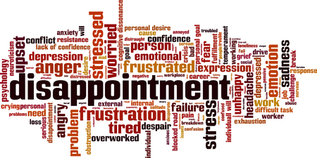 Disappointment word cloud concept. Vector illustration