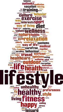 Lifestyle word cloud concept. Vector illustration Illustration