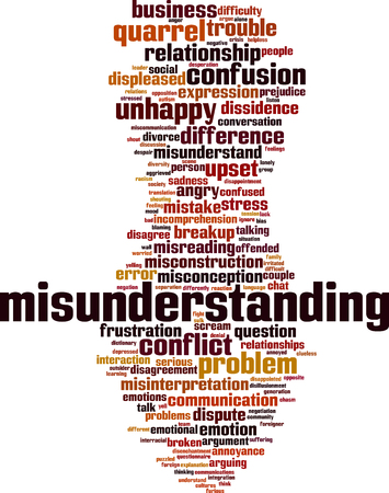 Misunderstanding word cloud concept. Vector illustration Illustration