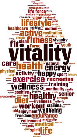 Vitality word cloud concept. Vector illustration