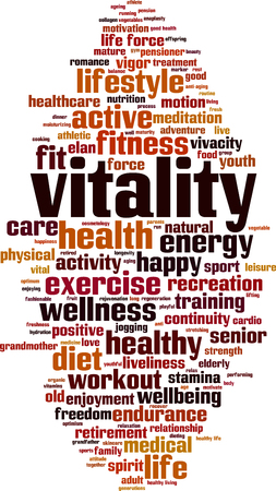Vitality word cloud concept. Vector illustration