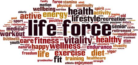 Life force word cloud concept. Vector illustration Illustration